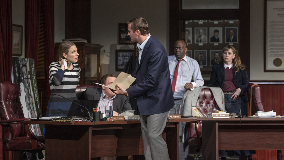 Show Photos - The Minutes - 3/20 - Jessie Mueller - Armie Hammer - K. Todd Freeman - Sally Murphy - Photo: Michael Brosilow